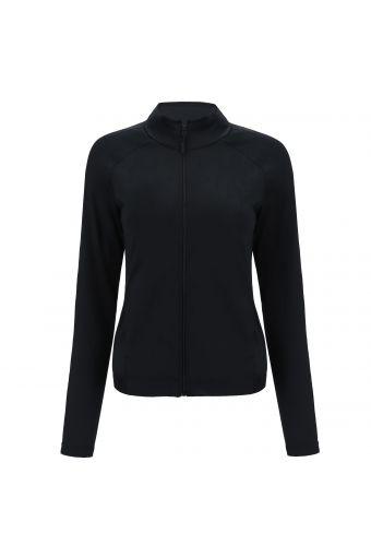 Black zip-front slim-fit sweatshirt in performance fabric
