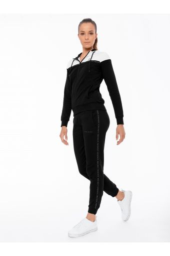 Stretch fabric track suit with decorated black tape