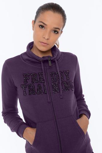 High neck FREDDY TRAINING sweatshirt with a drawstring