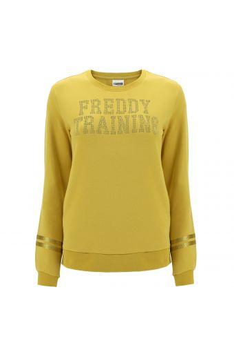 Crew neck sweatshirt with metal FREDDY TRAINING lettering