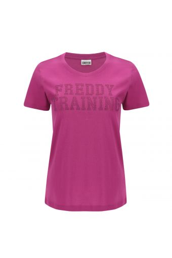 Camiseta en tejido de punto ligero con micro tachuelas redondas aplicadas