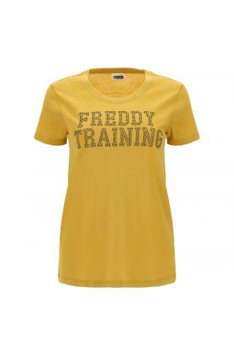 T-Shirt aus leichtem Jersey mit applizierten Mikro-Nieten