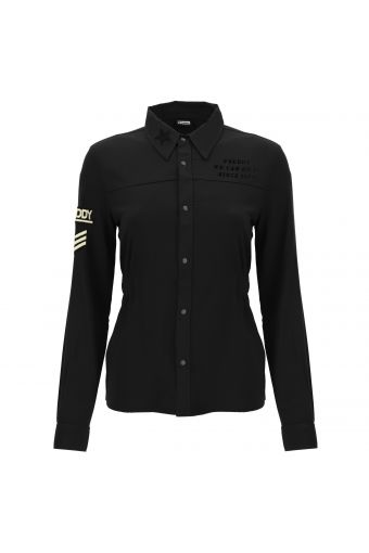 Women's military-style shirt with patches