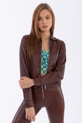70s-style mille-rayé faux leather jacket