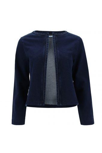 Denim-effect fleece jacket with micro studs