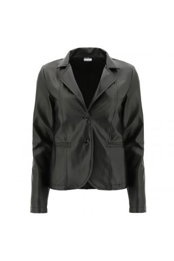 Faux leather blazer with a metallic finish