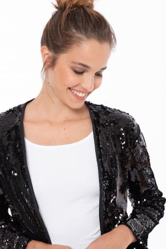 Giacca in paillettes comfort fit aperta