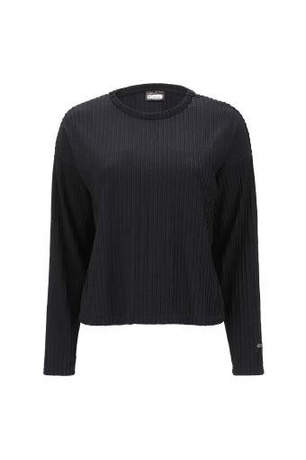 Comfort-fit black jacquard sweater with raised lurex stripes