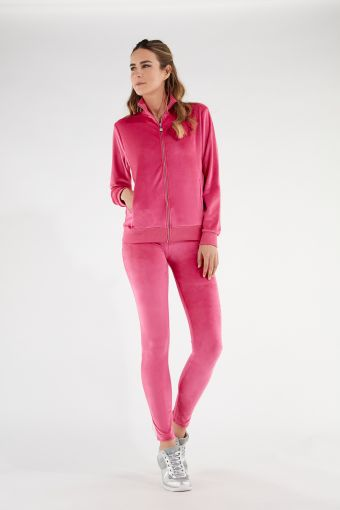 Chenille WR.UP®-IN track suit with a high neck sweatshirt and shaping trousers