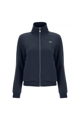High-neck zip-front sweatshirt with an enamel puller