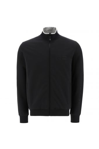 High neck sweatshirt with a print on the sleeve and contrast trim