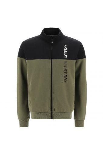 Zip-front sweatshirt with a vertical FREDDY SPORT BOX print