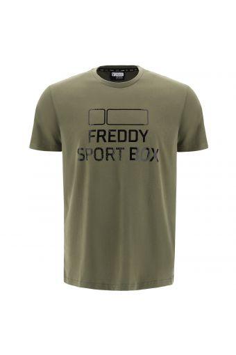 Plain colour t-shirt with a large, shiny FREDDY SPORT BOX print