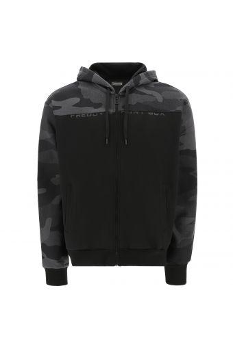 Sweatshirt with camouflage fabric on the hood, yoke and sleeves