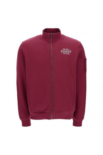 High neck zip-front sweatshirt with a pocket on the sleeve