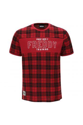 Tartan jersey t-shirt with a print