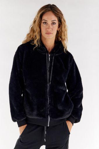 Black faux fur jacket with a lined hood and zip