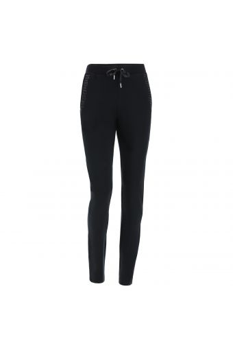 Viscose fleece athletic trousers with rhinestone decorations