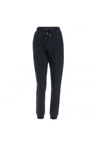 Stretch fleece joggers with an all-over damask print
