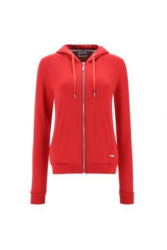 Sweatshirt with a damask-lined hood and tone-on-tone rhinestones