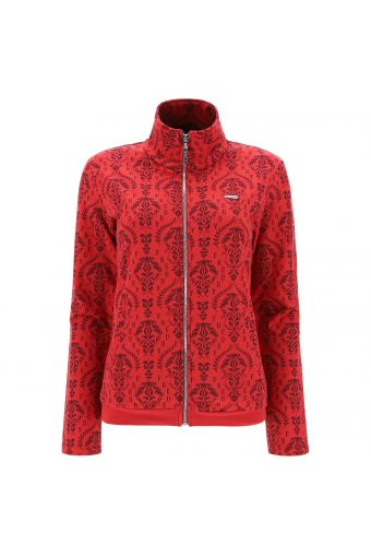 High neck zip-front sweatshirt with an all over damask print