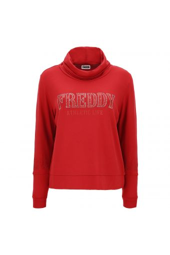 Sweatshirt with a roomy polo neck and silver glitter and rhinestone trim