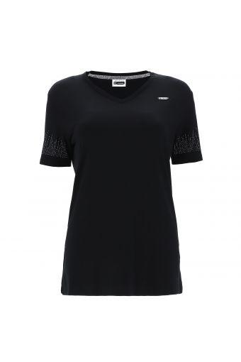 T-Shirt mit V-Ausschnitt und Strassverzierung an den Ärmeln