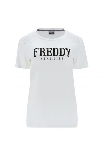 Bequemes T-Shirt mit Druck und Strassverzierung