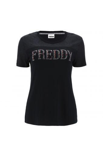 T-Shirt mit Damast-Druck und Schriftzug FREDDY aus Strasssteinen