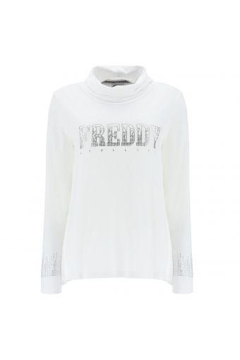 Langärmeliges T-Shirt mit weichem Kragen und silbernen Strasssteinen