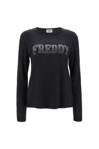 Langärmeliges T-Shirt mit Damast-Druck und Schriftzug FREDDY aus Strasssteinen