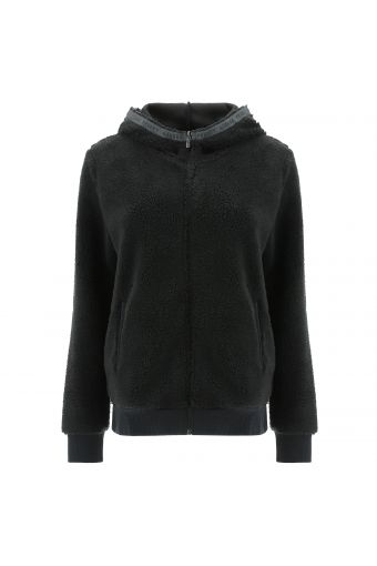 Zip-front faux teddy fur jacket with a branded hood