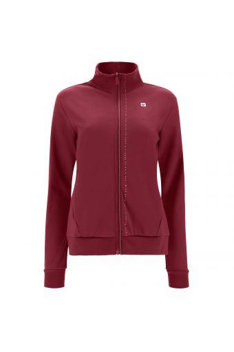 Zip-front interlock sweatshirt with shiny grey trim