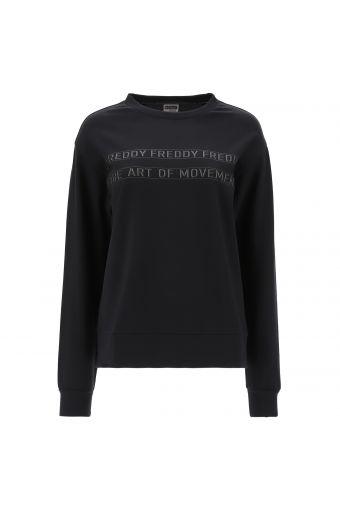 Crew neck cotton sweatshirt with a tone-on-tone print