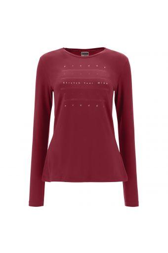 Schmales T-Shirt aus Baumwolle mit langem Arm mit holografischem Aufdruck