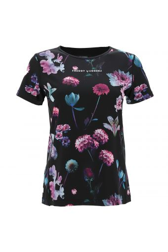 T-Shirt aus atmungsaktivem D.I.W.O.® mit Allover-Blumenmuster