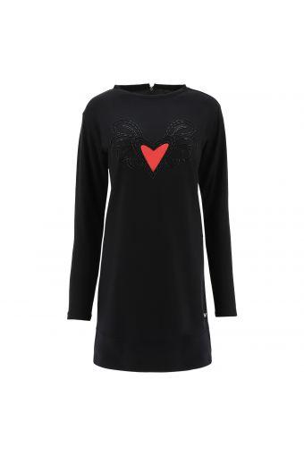 Vestido cómodo negro corazón alado - Romero Britto Collection