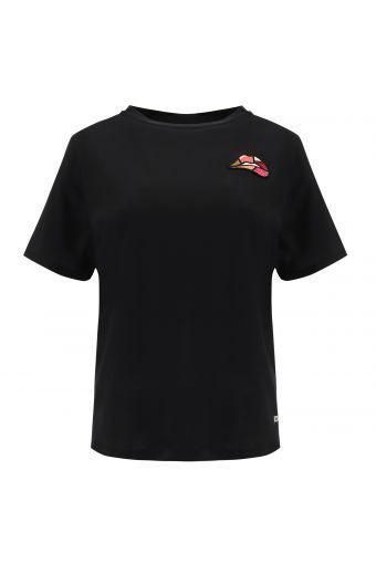 Schwarzes T-Shirt mit Aufnäher Lippen- Romero Britto Collection