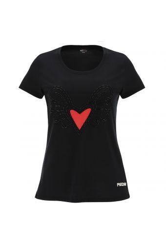 Schwarzes T-Shirt mit geflügeltem Herzen - Romero Britto Collection