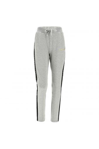 Pantalón jaspeado bandas laterales negras con glitter y lúrex