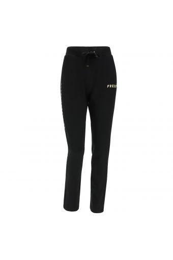 Pantalón deportivo bandas laterales negras con glitter y lúrex