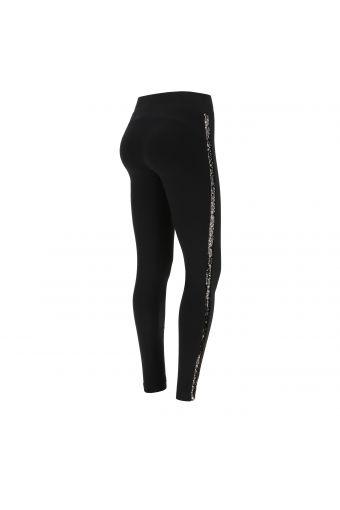 High waist fleece leggings with black sequin bands