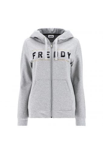 Melange grey hoodie with a sequin hood and gold bands