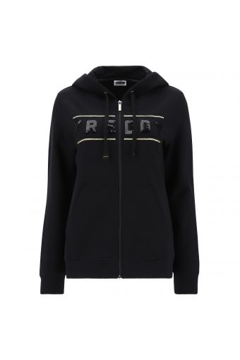 Black hoodie with sequins and gold bands