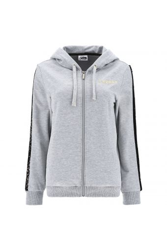 Melange grey hoodie with sequin bands on the sleeves