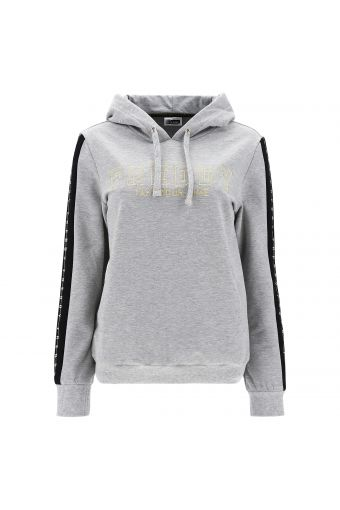 Melange grey hoodie with gold and silver lurex embroidery