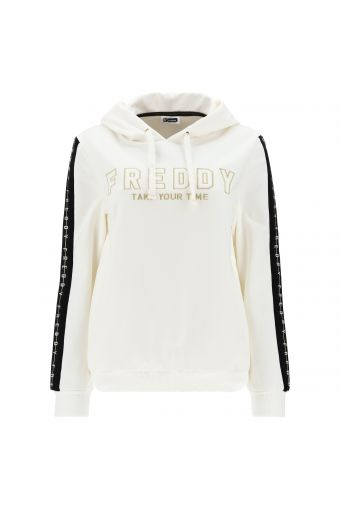 Hoodie with gold and silver lurex embroidery