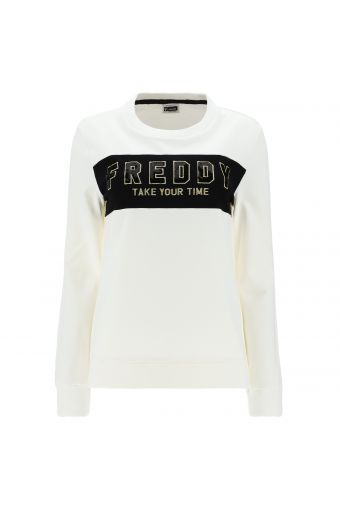 Sweatshirt with a black panel, gold details and sequins