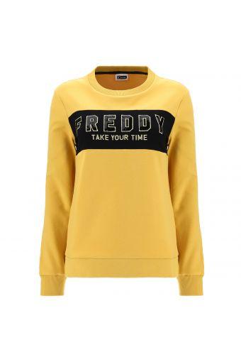 Sweatshirt mit schwarzem Einsatz, goldenen Details und Pailletten