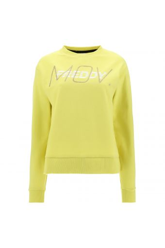 Crew neck sweatshirt with a white and gold glitter FREDDY MOV. print